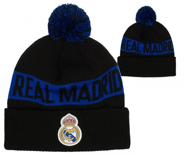 Fi Collection Real Madrid Officially Licensed Intarsia Cuff Knit w/Pom Pom